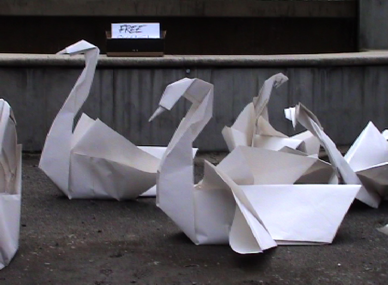 giant paper origami swans
